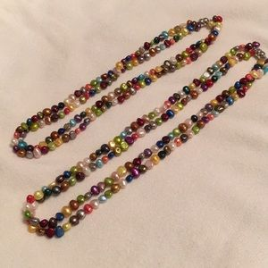 Two multi-colored freshwater pearl necklaces.